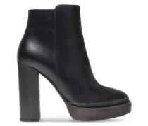 Bead-embellished leather platform ankle boots