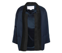 Woman Mesh-trimmed Two-tone Satin Jacket Midnight Blue