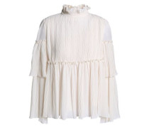 Tiered crinkled-georgette blouse