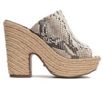 Eviana Snake-effect Leather Platform Sandals Animal Print