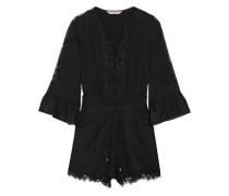 Rita chiffon-trimmed crepe de chine and lace playsuit