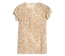 Ruffle-trimmed lace top