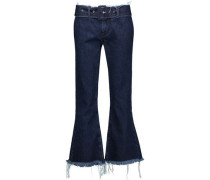 Belted mid-rise frayed flared jeans