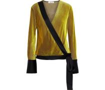 Satin-trimmed Devoré-mesh Wrap Top Yellow