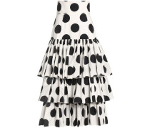 Tiered polka-dot cotton midi skirt