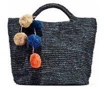 Belle Pompom-embellished Woven Straw Tote Charcoal Size --