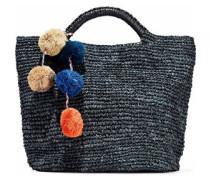 Belle pompom-embellished woven straw tote