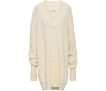 Waffle-knit Cotton And Wool-blend Mini Dress Ivory