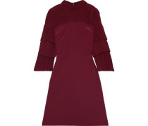 Pleated Paneled Silk Crepe De Chine And Georgette Dress Burgundy Size 0