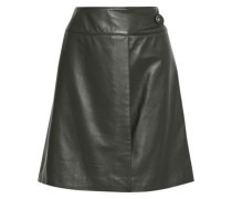 Leather Mini Wrap Skirt Forest Green