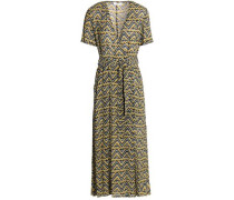Printed silk-crepe midi dress
