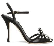 Kiera Bow-embellished Suede Sandals Black