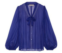 Woman Pussy-bow Silk-georgette Blouse Royal Blue