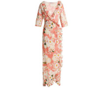 Ruffle-trimmed Floral-print Cotton Maxi Wrap Dress Peach