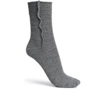 Bead-embellished mélange cashmere socks