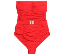 Croatia belted ruched bandeau swimsuit