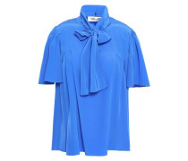 Pussy-bow Washed-silk Blouse Cobalt Blue Size 12