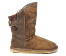 Paneled Shearling Boots Camel