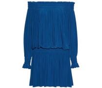 Off-the-shoulder shirred stretch-knit mini dress
