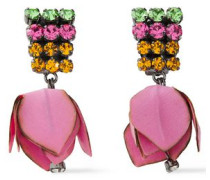 Woman Gunmetal-tone, Canvas And Crystal Clip Earrings Pink
