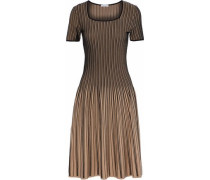Fluted Striped Stretch-knit Dress Black