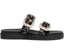 Embellished Jacquard Slides Animal Print