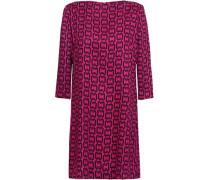 Printed Twill Mini Dress Fuchsia