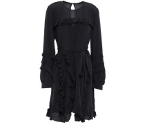 Frill Ruffled Crepe De Chine Mini Dress Black