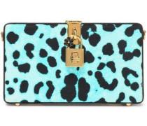 Leopard-print leather box clutch