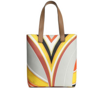 Printed faux leather tote