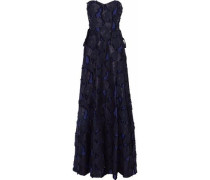 Strapless Lace-up Fil Coupé Cotton-blend Gauze Gown Navy