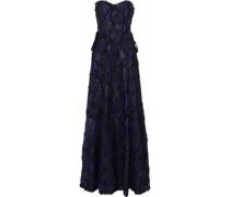 Strapless lace-up fil coupé cotton-blend gauze gown