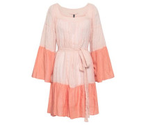 Striped Cotton-blend Gauze Coverup Pastel Pink