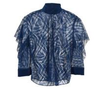 Lace And Crepe De Chine-paneled Top Indigo