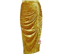 Ruched Crushed-velvet Midi Skirt Gold Size 0