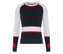 Ribbed-paneled color-block intarsia-knit top