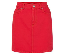 Faded Denim Mini Skirt Red