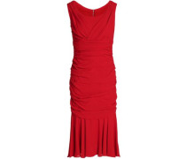 Ruched Silk-crepe Dress Red