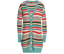 Striped Wool And Cashmere-blend Cardigan Multicolor