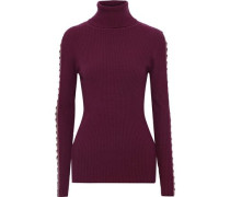 Cutout Ring-embellished Ribbed Merino Wool-blend Turtleneck Sweater Plum