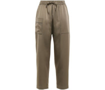 Cropped Bead-embellished Satin Track Pants Bronze