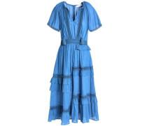 Crochet-trimmed embellished cotton-blend mousseline midi dress