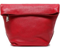 Textured-leather Clutch Red Size --