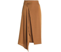 Draped Crepe Skirt Camel