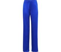Striped Satin-crepe Wide-leg Pants Bright Blue Size 12
