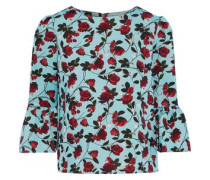 Woman Bernice Fluted Floral-jacquard Top Turquoise