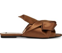 Woman Knotted Satin Slides Brown