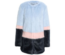 Color-block Faux Fur Coat Sky Blue