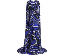 Cape-effect printed silk maxi dress