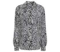 Woman Leopard-print Silk Crepe De Chine Blouse Black
